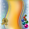 Christmas greeting colored balls with gold bow Stock Photos