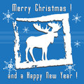 Christmas greeting with moose abstract colorful a silhouette in a white frame and the text merry and happy new year written Royalty Free Stock Photos