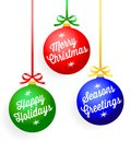 Christmas greeting ornaments illustration of colorful with lettered greetings Stock Photography