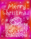 Christmas greeting poster with gift box Stock Photos