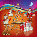 Christmas greeting with Santa deer and gifts Royalty Free Stock Image