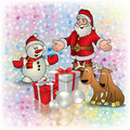 Christmas greeting with Santa deer and gifts Stock Images