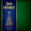 Christmas greeting with tree and decorations Royalty Free Stock Images