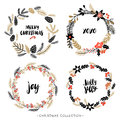 Christmas greeting wreaths with calligraphy.