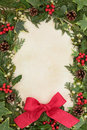 Christmas greetings border of holly ivy mistletoe and red bow ribbon decoration over old parchment background Stock Images