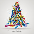 Christmas greetings card with colorful ink splatters tree over light background merry vector design Stock Images