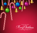 Christmas Greetings with Decorations and Elements Hanging Royalty Free Stock Photo