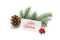 Christmas greetings greeting card with pine cone and holly berries Royalty Free Stock Photo
