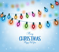Christmas Greetings in Realistic 3D Colorful Christmas Lights