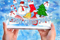 Christmas greetings on tablet pc