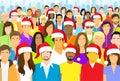 Christmas Group of People Wear Santa Hat Big Crowd Royalty Free Stock Photo