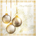 Christmas grunge greeting card with silver baubles Royalty Free Stock Photography