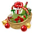 Christmas Hamper Gift Basket Royalty Free Stock Photo