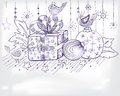 Christmas hand drawn card for xmas design Royalty Free Stock Photography