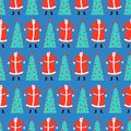 Christmas hand drawn doodle pattern seamless. Santa Claus and Christmas tree. Xmas Abstract modern trendy background. New Year