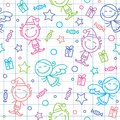 Christmas hand drawn pattern Royalty Free Stock Images