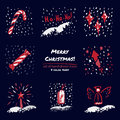 Christmas hand drawn sketch icons on dark blue background Few color tones, red, white, gray
