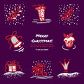 Christmas hand drawn sketch icons on dark purple background Few color tones, red, white, gray
