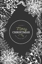 Christmas hand drawn vector design template. Vintage style illustration on chalk board