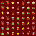 Christmas happy background pattern wrapping paper with cartoon c repetitive seamless texture of simple and cute santa claus tree Stock Image