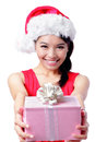 Christmas happy girl holding gift Royalty Free Stock Photo