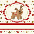 Christmas and Happy New Year Card with cute deer Stock Images