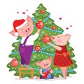 Christmas and Happy New year card with cute lovely family of pigs decorate a xmas tree. Vector illustration isolated on white back