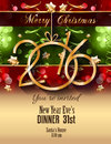 Christmas and happy new year party flyer complete layout with space for text for your dinner invitation xmas parties or s Stock Photos
