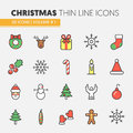 Christmas and Happy New Year 2017 Thin Line Icons Set with Santa Claus Reindeer and Christmas Tree