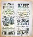 Christmas and happy new year typography labels calligraphic elements Royalty Free Stock Photo