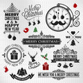 Christmas happy new year vintage orntae label set Royalty Free Stock Photo