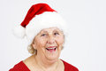 Christmas hat grandma smiling Stock Photo