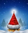 Christmas Hat Tree Royalty Free Stock Photo