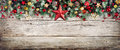 Christmas Header - Border Of Fir Branches And Baubles Royalty Free Stock Photo