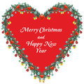 Christmas heart decoration with greeting card Royalty Free Stock Images