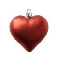 Christmas heart shape red decoration on white Stock Photos