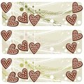 Christmas heart shaped gingerbread banner Royalty Free Stock Photo