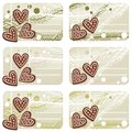 Christmas heart shaped gingerbread gift label set Stock Images