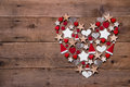 Christmas Heart On A Wooden Ba...
