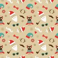 Christmas hipster retro seamless pattern vector vintage background Royalty Free Stock Image
