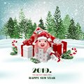 Christmas holiday background with presents and cute pig. Vector