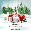 Christmas holiday background with presents and magic gift box. Vector Royalty Free Stock Photo