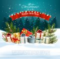 Christmas holiday background with presents on a sleigh and Santa Claus. Royalty Free Stock Photo