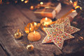 Christmas holiday background. Served table with decorations Royalty Free Stock Photo