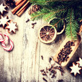 Christmas holiday baking setting with gingerbread cookies and sp Royalty Free Stock Photo