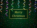 Christmas holiday banner. Green gradient background with colorful streamer and confetti Royalty Free Stock Photo