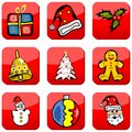 Christmas holiday buttons red web collection Stock Photo