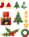 Christmas holiday celebration icons Stock Image