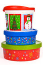 Christmas holiday cookie containers a stack of three isolated on white Stock Photos