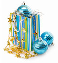 Christmas holiday decoration with blue balls Royalty Free Stock Photos